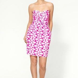 Shoshanna pink strapless print dress